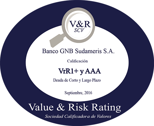 Banco GNB Sudameris Calficación Triple A y V1R1+ en Deuda de Largo Plazo y Corto Plazo,